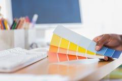在一个现代办公室递拿着颜色图表 免版税库存照片