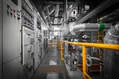在一个现代热电站的管子 图库摄影