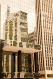 在一个现代玻璃大厦的老大厦reflextions在巴西 免版税库存照片