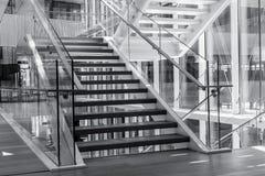 在一个现代建筑学大厦的台阶 图库摄影