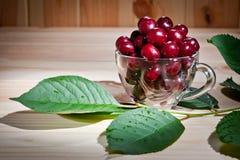 在一个玻璃杯子的成熟水多的樱桃木表面上 库存图片