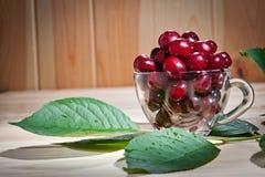 在一个玻璃杯子的成熟水多的樱桃木表面上 免版税库存照片