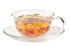 在一个玻璃杯子的清凉茶 免版税库存照片