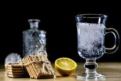 在一个玻璃碗的碳酸化合的饮料 与泡影和le的冷饮 免版税库存照片