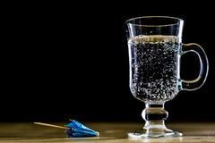 在一个玻璃碗的碳酸化合的饮料 与泡影和le的冷饮 免版税图库摄影