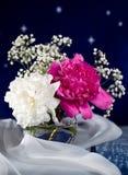 在一个玻璃花瓶的白色和桃红色花 免版税库存图片