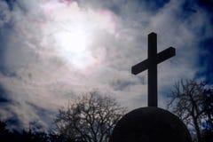 在一个球状插口的十字架 库存图片