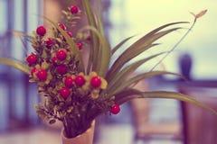 在一个瓶子的莓果在越南咖啡馆 免版税库存图片