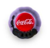 在一个瓶的可口可乐饮料在白色背景顶视图 免版税图库摄影