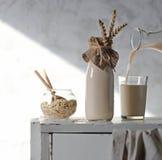 在一个瓶的燕麦牛奶有耳朵的 图库摄影