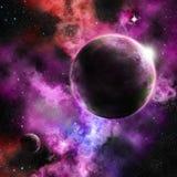 在一个生动的星云设置的一个行星 免版税库存照片