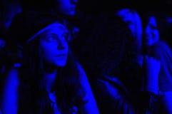 在一个生活音乐会期间的党人 库存照片