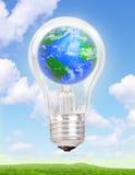 在一个电灯泡的行星地球 免版税库存照片