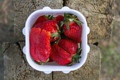在一个白色塑料方形的容器的大水多的成熟红色巨大的开胃草莓莓果在木背景在夏天我 免版税库存照片