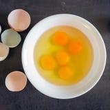 在一个白色碗的新鲜的鸡蛋 有机产品的概念 农场 B 免版税图库摄影