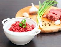 在一个白色碗的肉末用新鲜的草本 库存图片