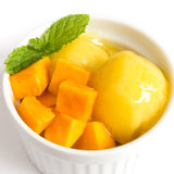 在一个白色碗的芒果冰淇凌在白色背景 图库摄影