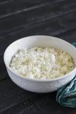 在一个白色碗的酸奶干酪 免版税图库摄影