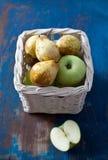 在篮子的苹果和梨 库存照片