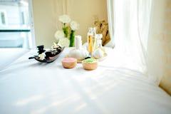 在一个白色织品地板上的一个美好的温泉元素叫长沙发 免版税图库摄影