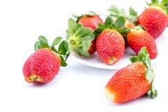 在一个白色背景的草莓 库存照片