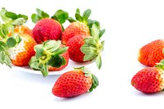 在一个白色背景的草莓 免版税库存照片