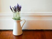 在一个白色水罐的淡紫色 免版税图库摄影