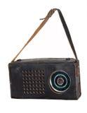 在一个皮革案件的老收音机 库存图片