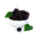 在一个盘的桑树与在白色背景黑莓隔绝的叶子 免版税库存图片