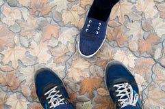 在一个石地板上的人脚与叶子 库存照片