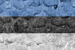 在一个石墙上的爱沙尼亚旗子 库存例证