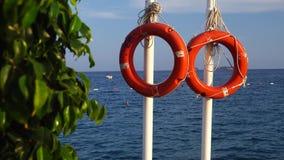 在一个码头的Lifebuoy在海 影视素材