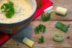 在一个碗的奶油沙司用新鲜的韭葱和草本在土气木头 免版税图库摄影