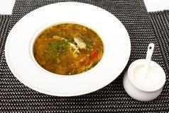 在一个碗的希腊鸡汤在白色希腊鸡汤用草本 库存照片