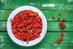 在一个碗的成熟新鲜的有机红浆果在绿色背景 库存照片