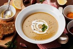 在一个碗的扁豆奶油色汤用香料姜黄、辣椒粉和大蒜 免版税库存照片