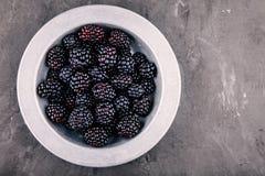 在一个碗的新鲜的成熟有机黑莓在木背景 库存照片