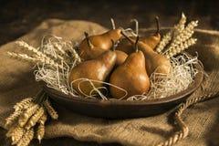 在一个碗的梨有麦子的耳朵的 库存图片