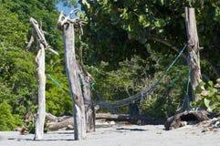 在一个离开的海滩的吊床 库存图片