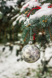 在一个积雪的树枝的银色圣诞节球 免版税库存照片
