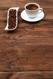 在一个空白杯子的咖啡 图库摄影
