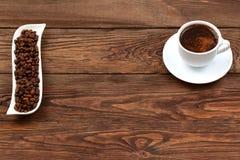 在一个空白杯子的咖啡 免版税图库摄影