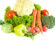 在一个空白背景查出的蔬菜 农业新鲜市场产品蔬菜 五颜六色的蔬菜 健康蔬菜 新vegetabl的分类 免版税库存图片