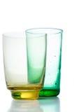 二块多彩多姿的葡萄酒玻璃 库存图片