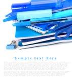 在一个空白背景的学校工具 免版税图库摄影