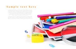 在一个空白背景的学校工具 免版税库存照片