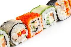 在一个空白背景的寿司卷 库存照片