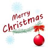 在一个空白背景的红色圣诞节球 库存图片