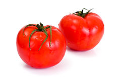 在一个空白背景的红色蕃茄 图库摄影