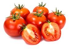 在一个空白背景的红色蕃茄 免版税库存照片